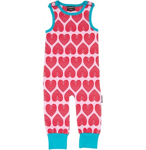 Pink hearts organic cotton dungarees in Scandi print by Maxomorra