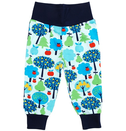 Orchard fruits print organic cotton baby clothes in bright unisex print by DUNS Sweden