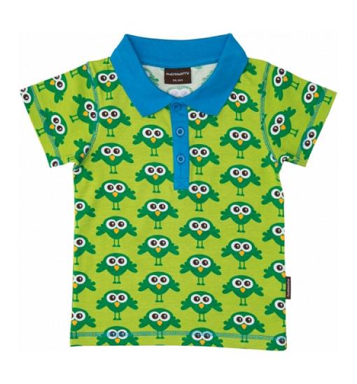 Green birds bright unisex polo t-shirt Maxamora