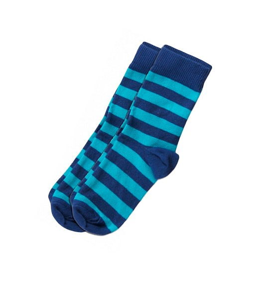 Striped socks in organic cotton by Maxomorra - turquoise