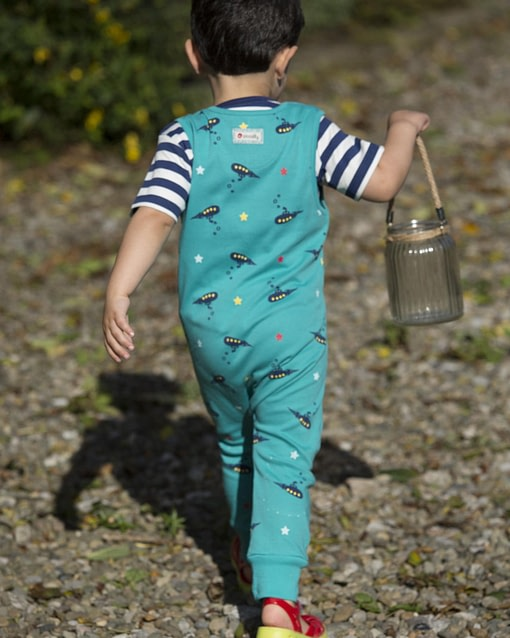 Submarine dungarees by Piccalilly in organic cotton (Age 2-3) 2