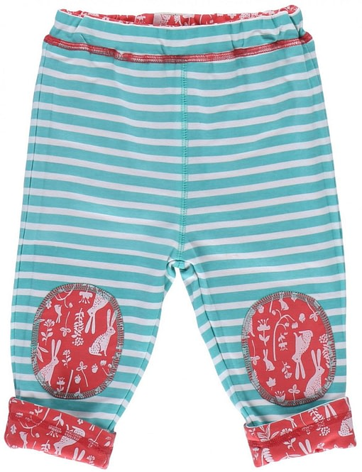 Floral bunny reversible trousers by Piccalilly in organic cotton 2