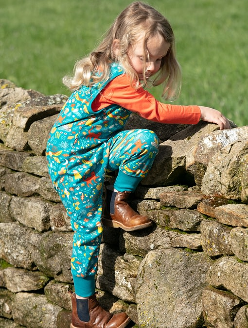 Piccalilly harvest festival print organic cotton dungarees 1