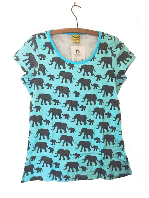 DUNS Sweden organic cotton ladies t-shirt in blue elephants print (S) 1