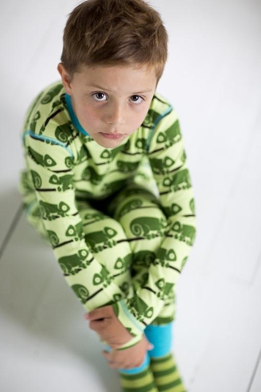 Maxomorra - organic cotton onesie in green Chameleon design 1