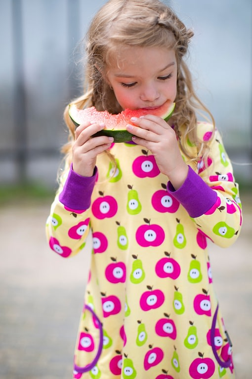 Maxomorra ~ Apples & pears organic cotton balloon dress 1