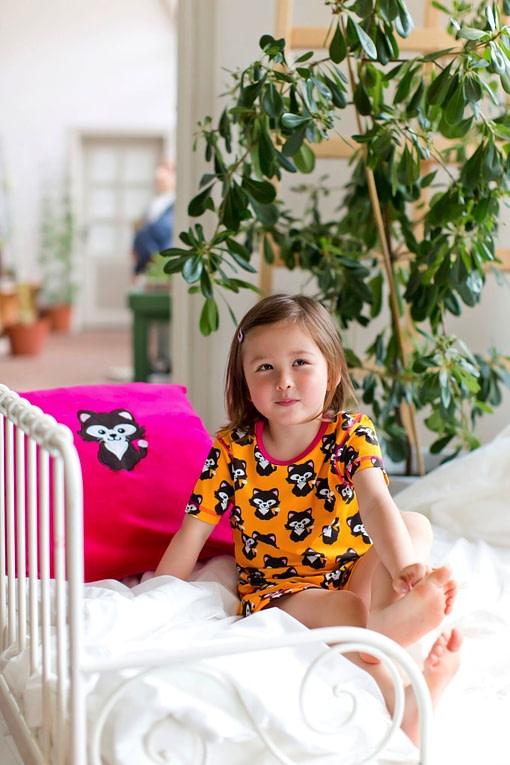 Maxomorra organic cotton summer short pyjamas in cat print 3