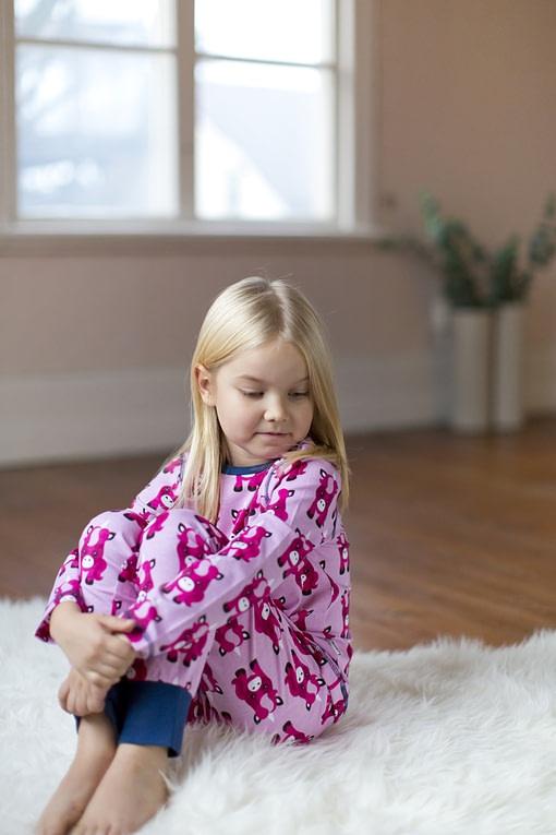 Maxomorra organic cotton pyjamas in polka beet design (110-116cm Age 4-6) 4