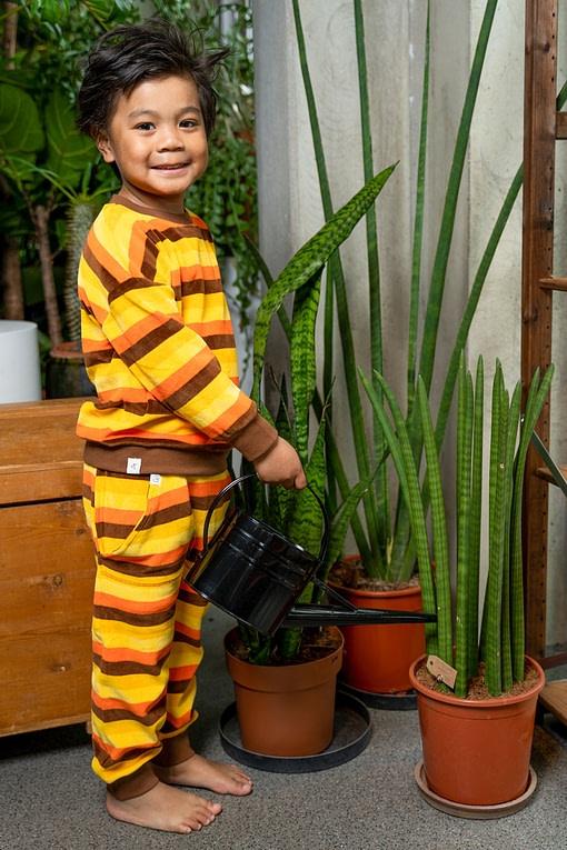 Alba of Denmark Kay Play Pants in Emperador Big Stripe organic velour 2