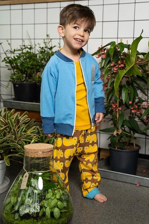 Alba Lucca Baby Pants in panda design on emperador brown and yellow 2