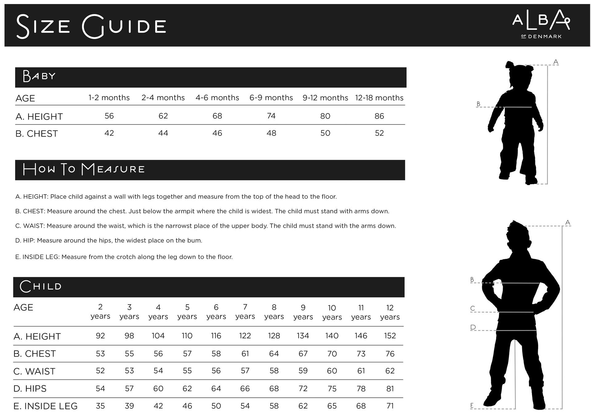 Alba of Denmark size guide