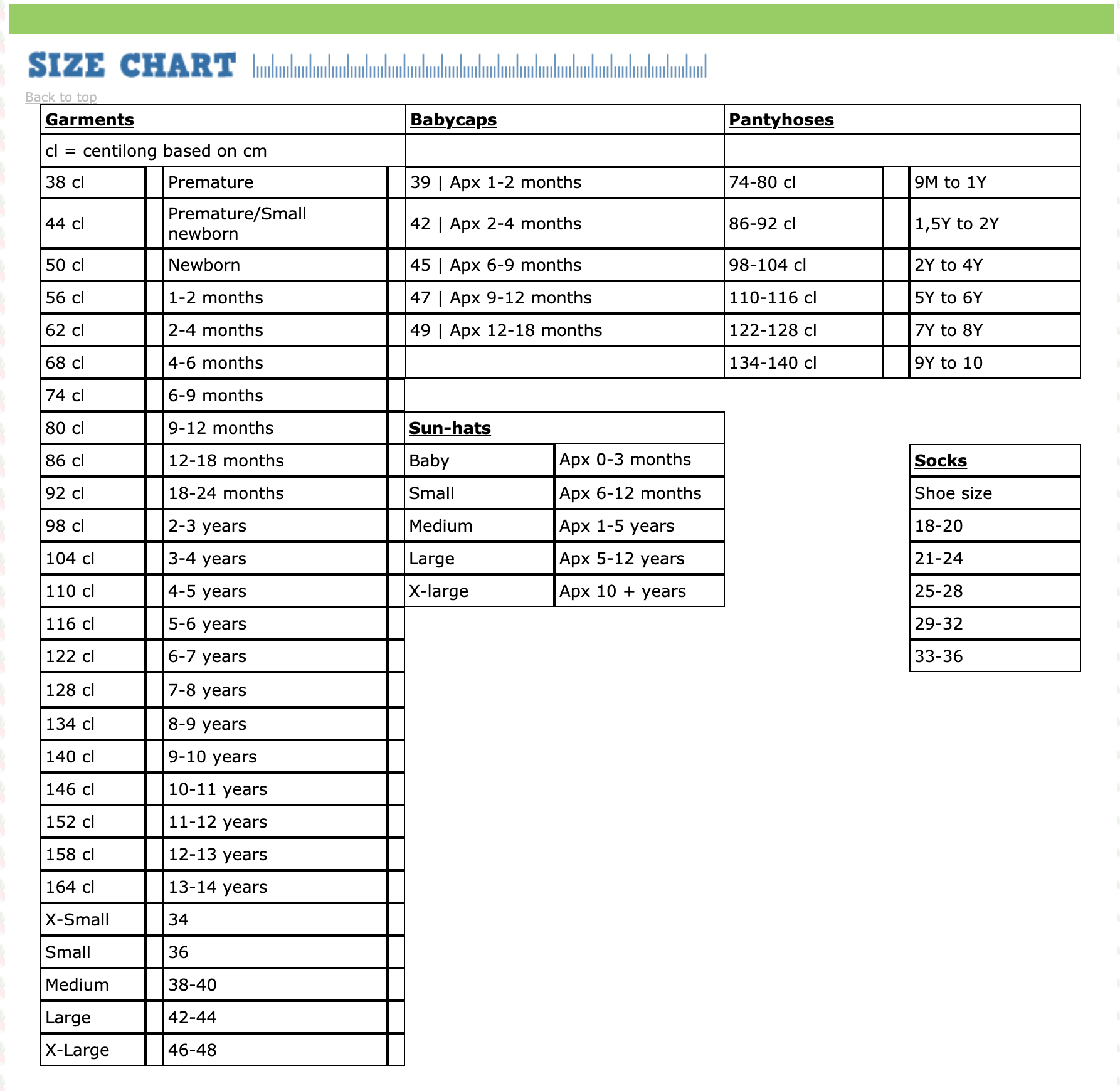 DUNS Sweden size guide